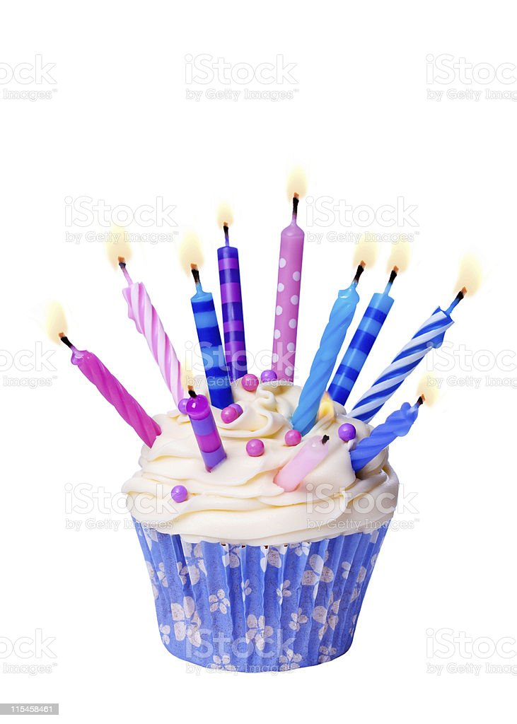Birthday cupcake with many lit candles isolated on white royalty-free stock photo