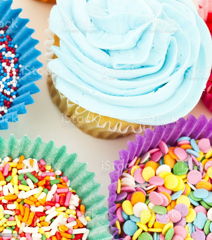 Birthday Cupcake with Sprinkles royalty-free stock photo