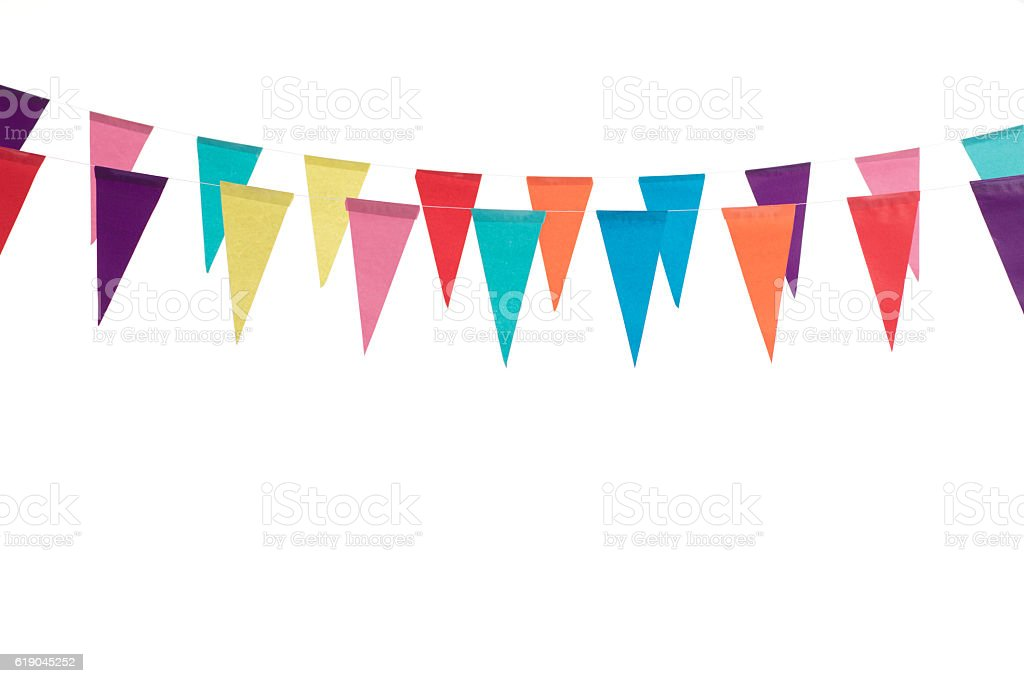 Birthday decoration flags stock photo