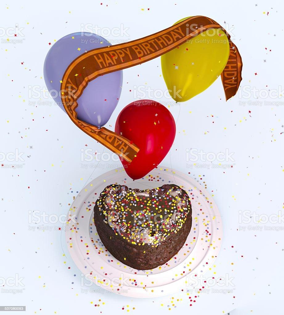 birthday decorative cake and balloons stock photo