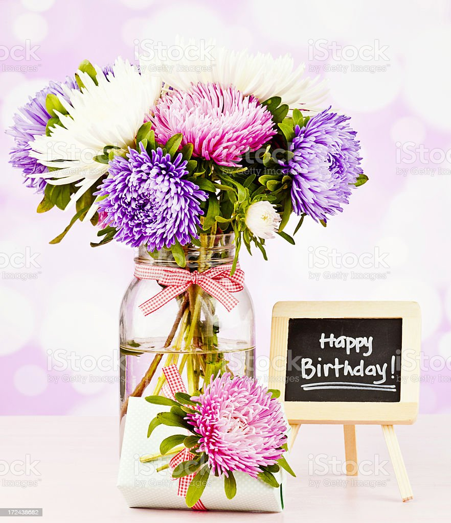 Birthday Flowers and Gifts royalty-free stock photo