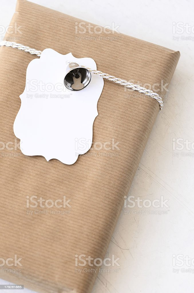 Birthday gift on rustic background royalty-free stock photo