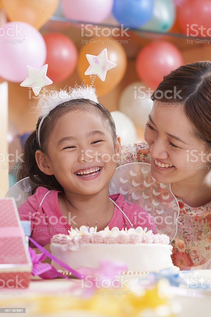 Birthday Girl and Her Mother stock photo