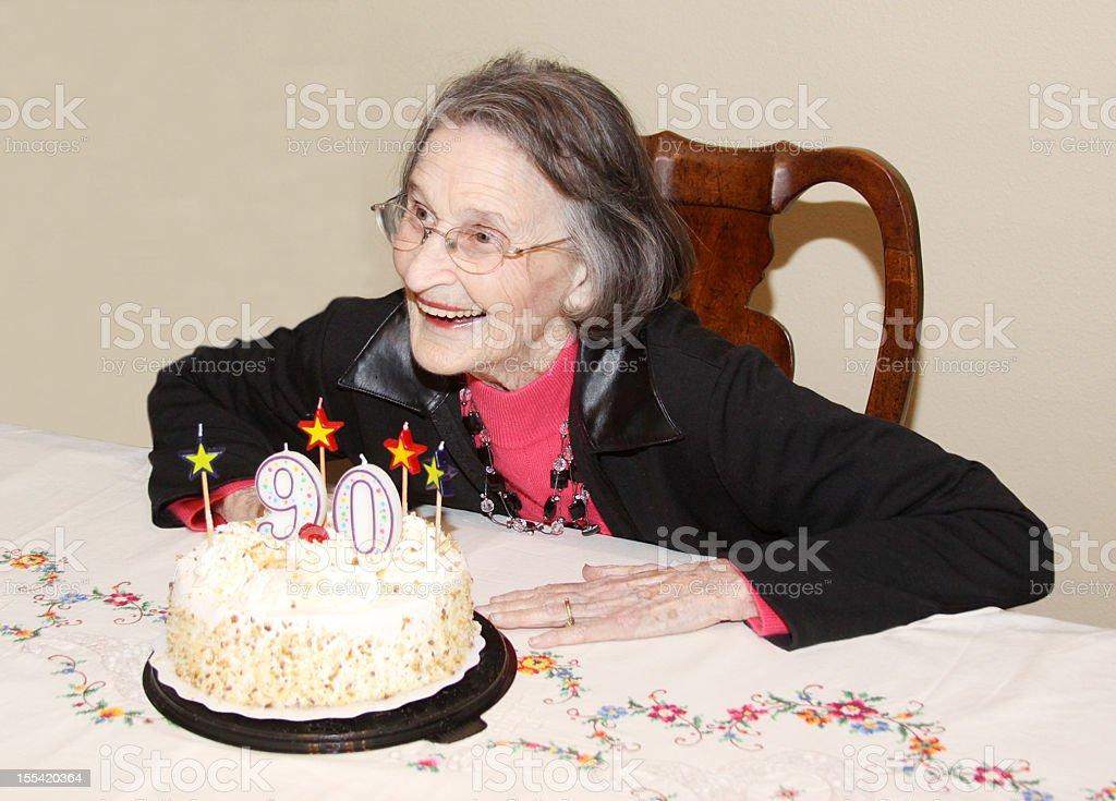 Birthday Girl - Ninety Years Old stock photo