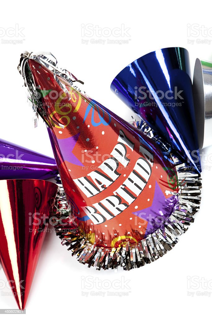 Birthday hats on white royalty-free stock photo