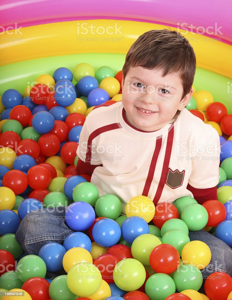 Birthday of  boy in color balls. royalty-free stock photo
