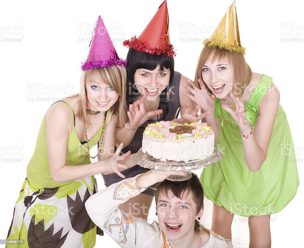Birthday of young man and three girl. stock photo