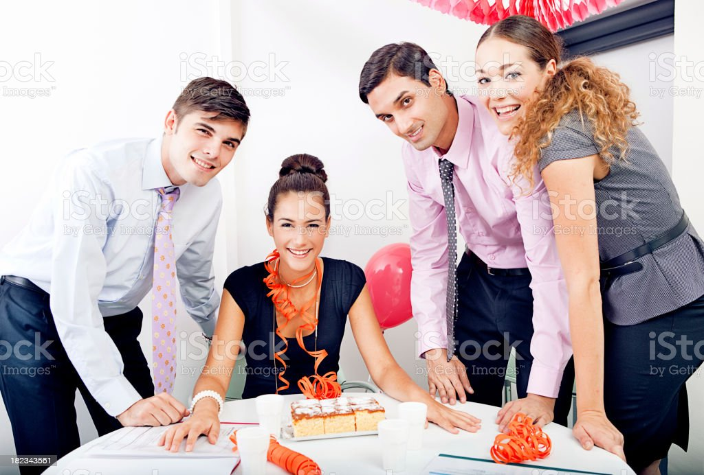 Birthday party at the office royalty-free stock photo