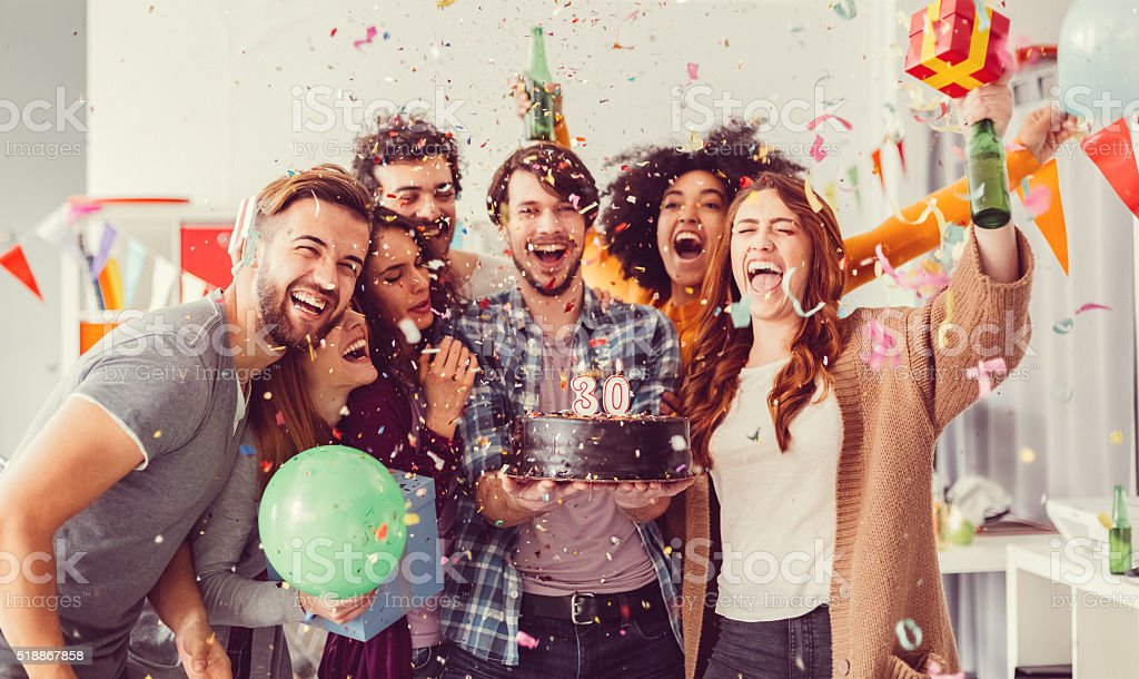 Birthday party in the office stock photo