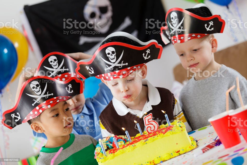Birthday Party of a 5 Year Old Boy stock photo