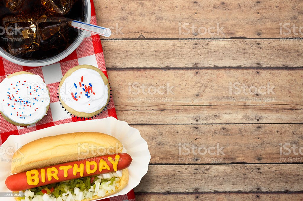 Birthday Party Picnic with Cupcakes and Softdrink stock photo