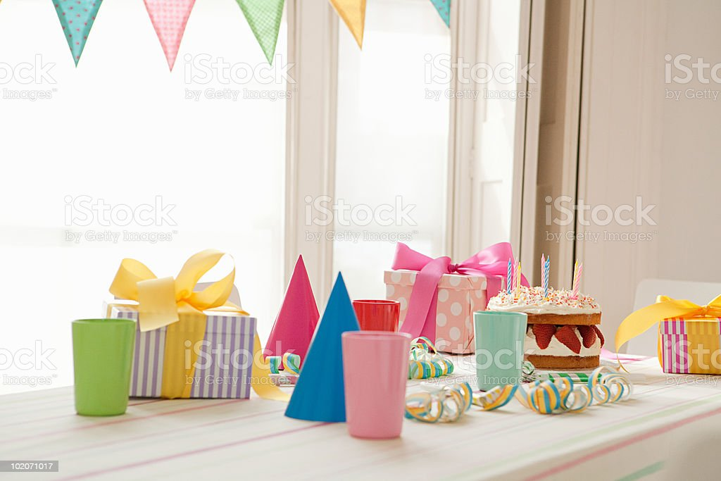 Birthday party preparation stock photo