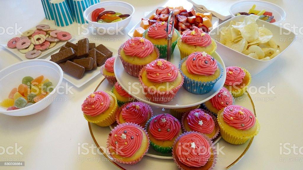 Birthday Party treats with cupcakes stock photo