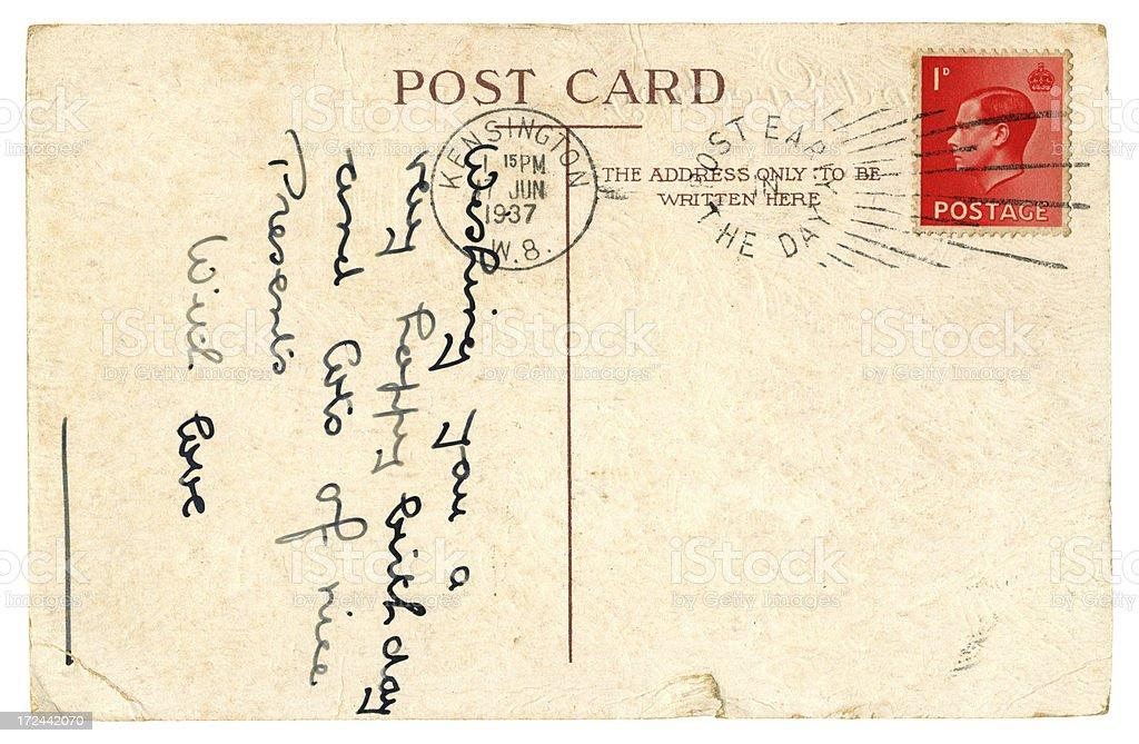 Birthday postcard, 1937 royalty-free stock photo