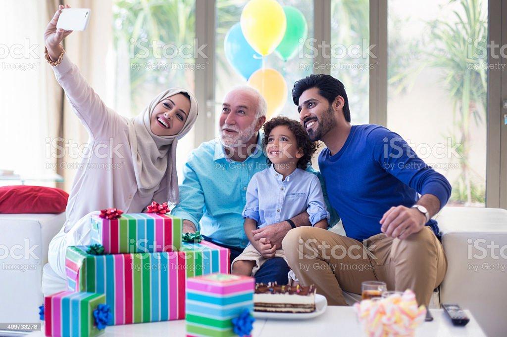 Birthday selfie stock photo