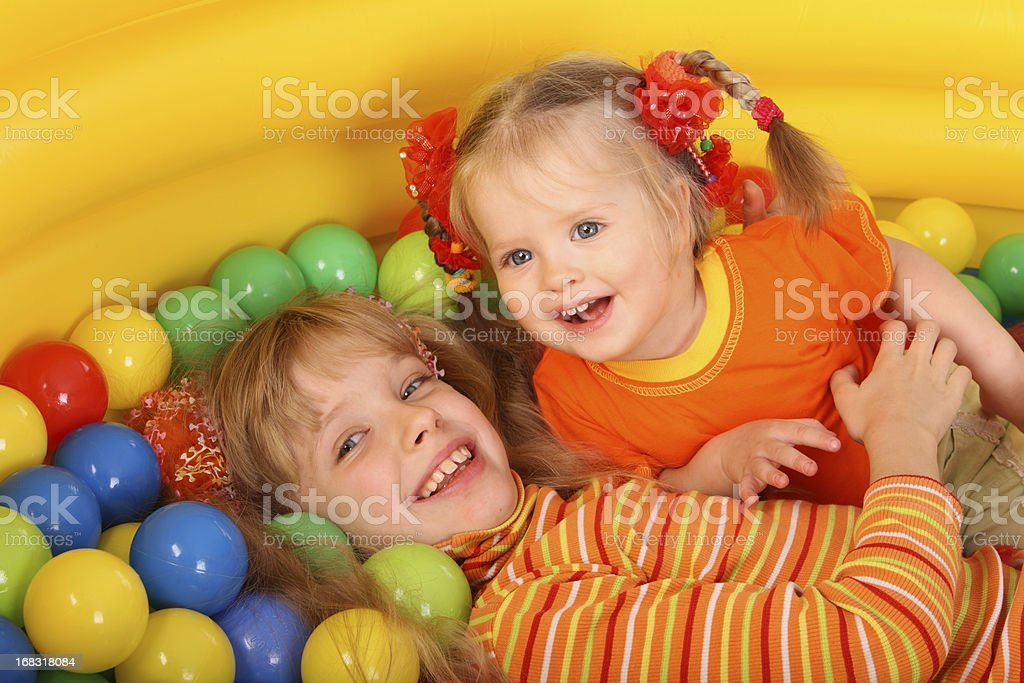 Birthday two girl with game ball. royalty-free stock photo