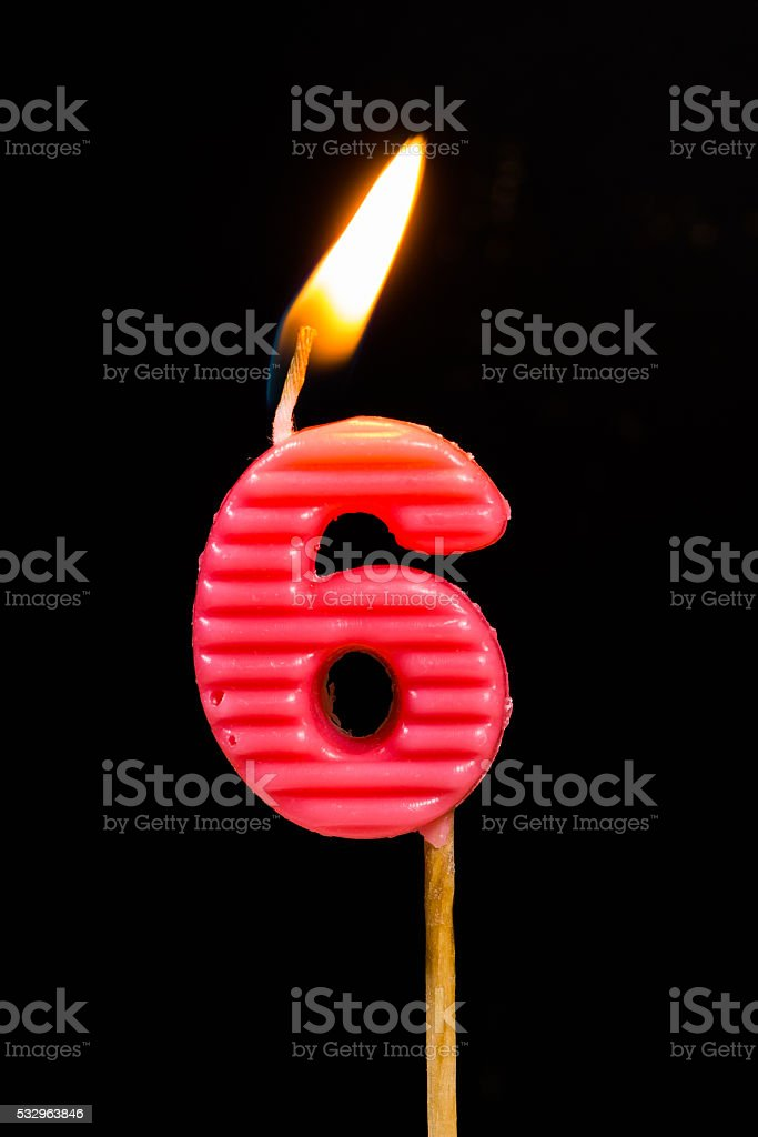 Birthday-anniversary candles showing Number. 6 stock photo