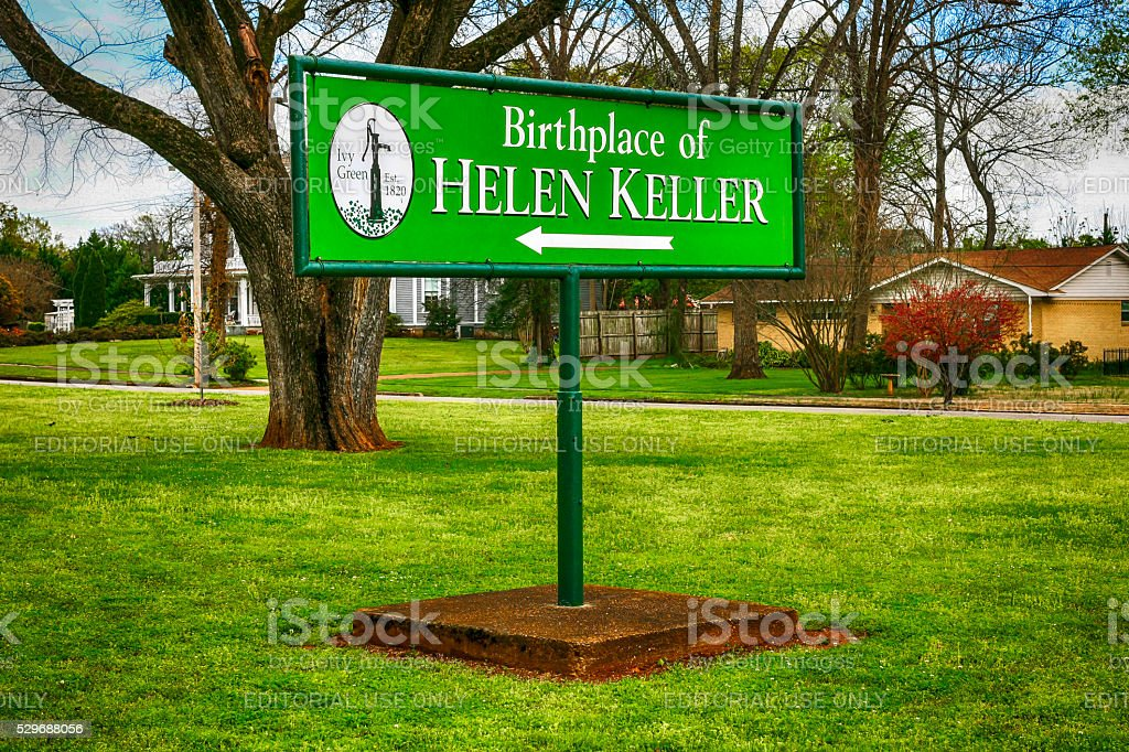 Birthplace of Helen keller sign in Tuscumbia, Alabama stock photo
