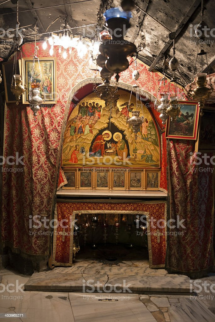 Birthplace of Jesus inside Church of the Nativity in Bethlehem royalty-free stock photo
