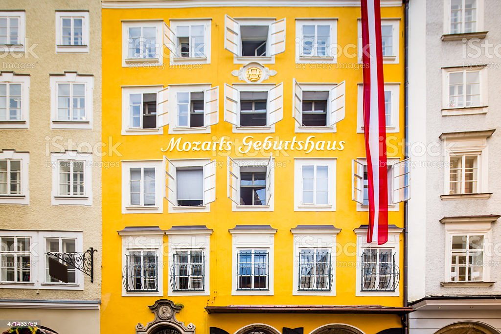 Birthplace Wolfgang Amadeus Mozart Getreidegasse Salzburg Austria stock photo