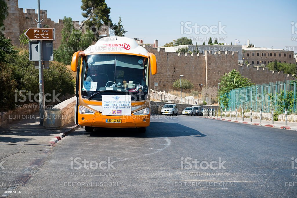 Birthright Israel bus in Jerusalem royalty-free stock photo