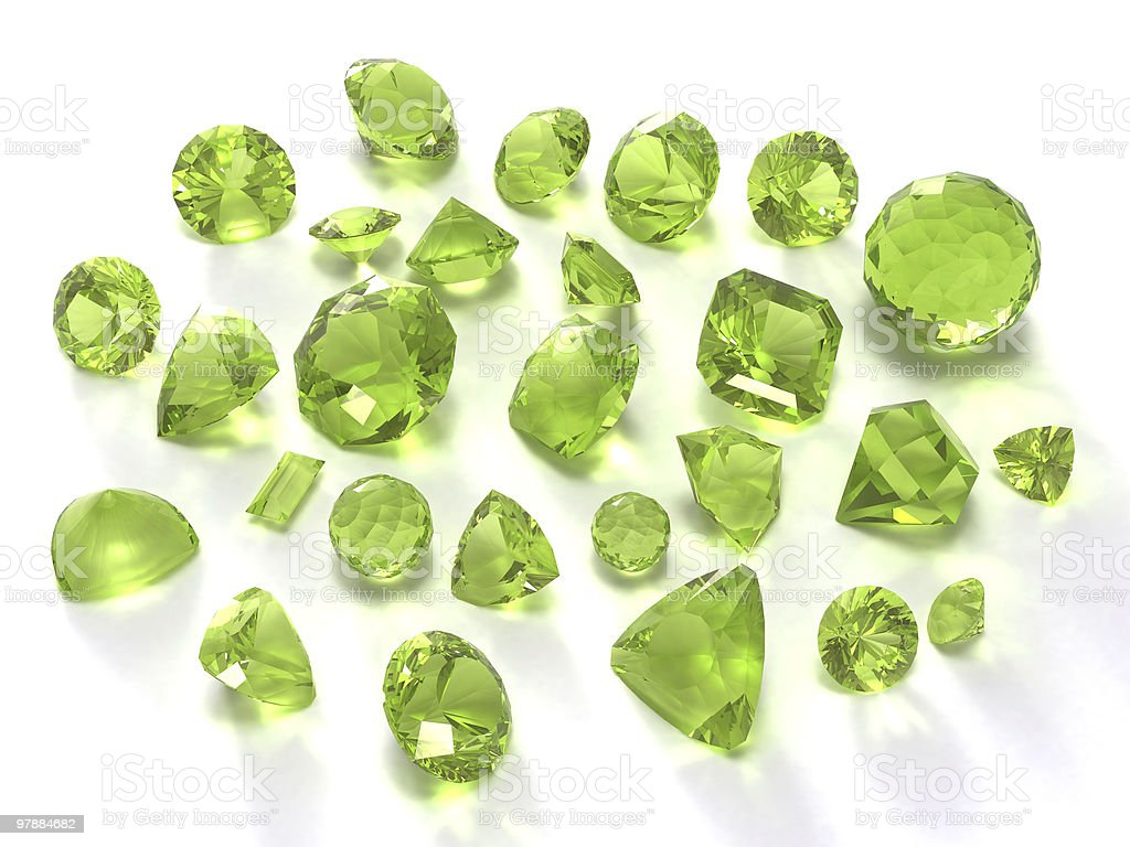 Birthstone, peridot or chysolite gems royalty-free stock photo