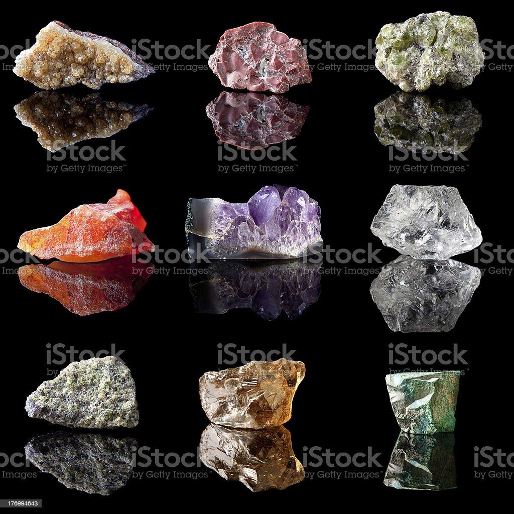 Birthstones and semi precious gemstones stock photo
