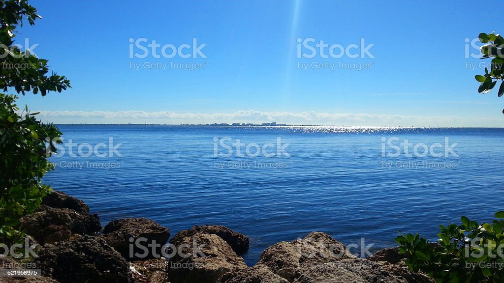 Biscayne Bay view stock photo