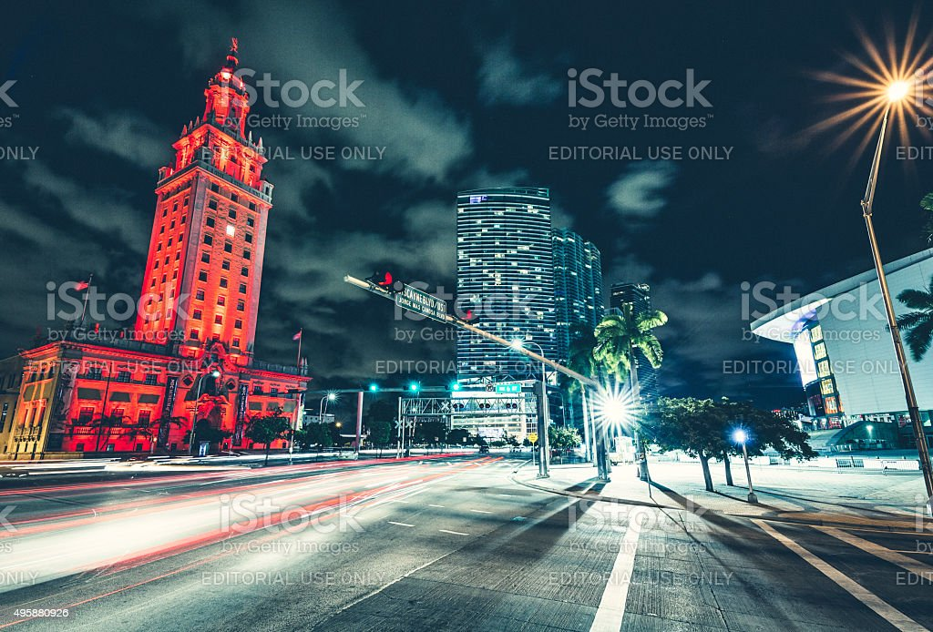 Biscayne Boulevard at Downtown Miami stock photo