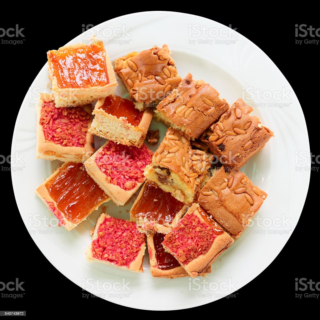 Bischeri cake, a Tuscan sweet, isolated on black stock photo