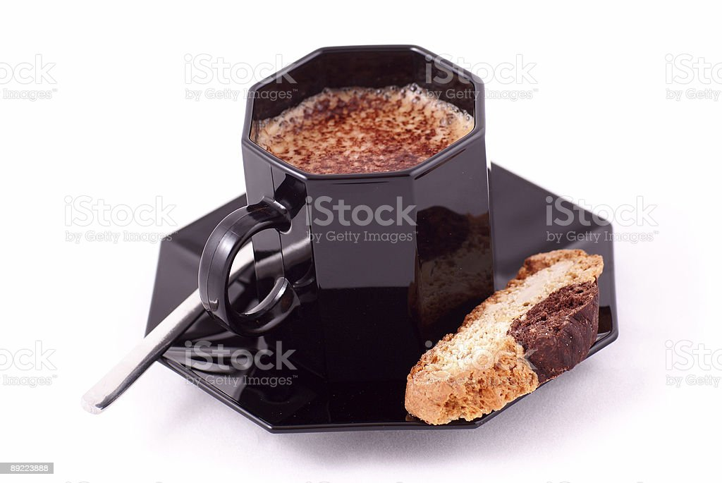 Biscotti and Cappuccino Coffee royalty-free stock photo