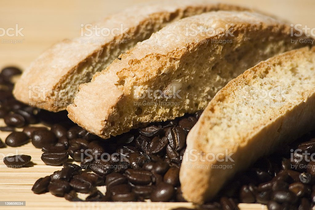 Biscotti and Coffee Beans royalty-free stock photo