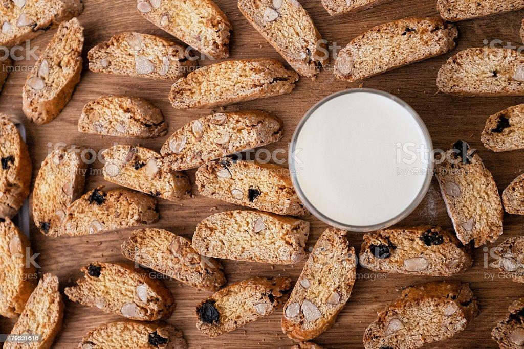 Biscotti and milk stock photo