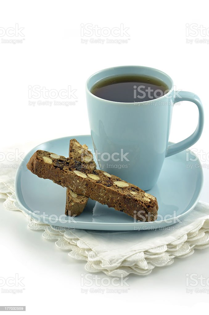 Biscotti and tea stock photo