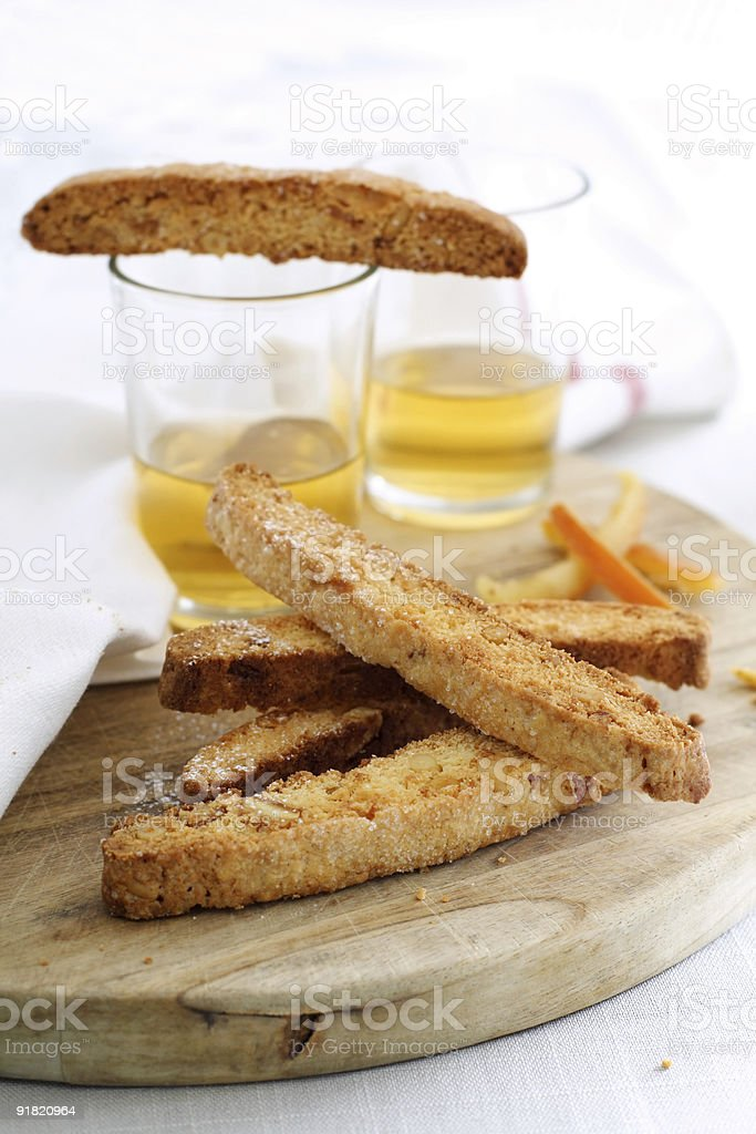 biscotti and vin santo royalty-free stock photo