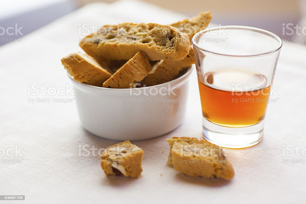 Biscotti And Vino Santo stock photo