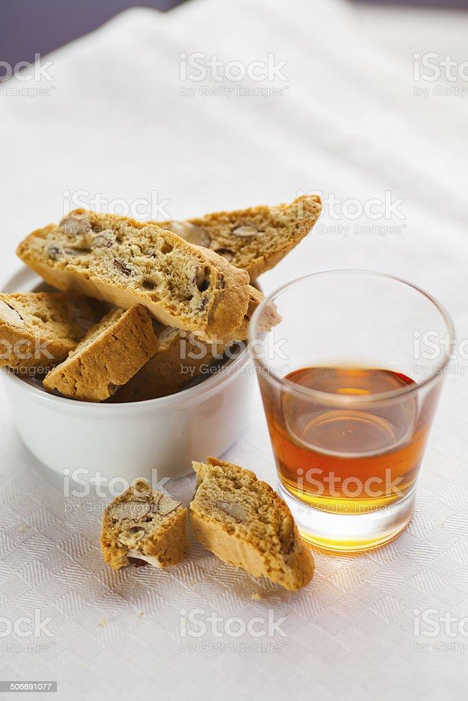 Biscotti And Vino Santo stock photo