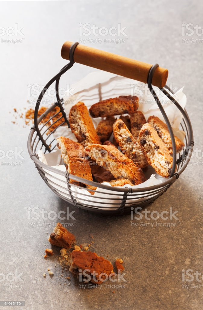 Biscotti cantuccini,  Italian almond biscuits or cookies on grey stock photo