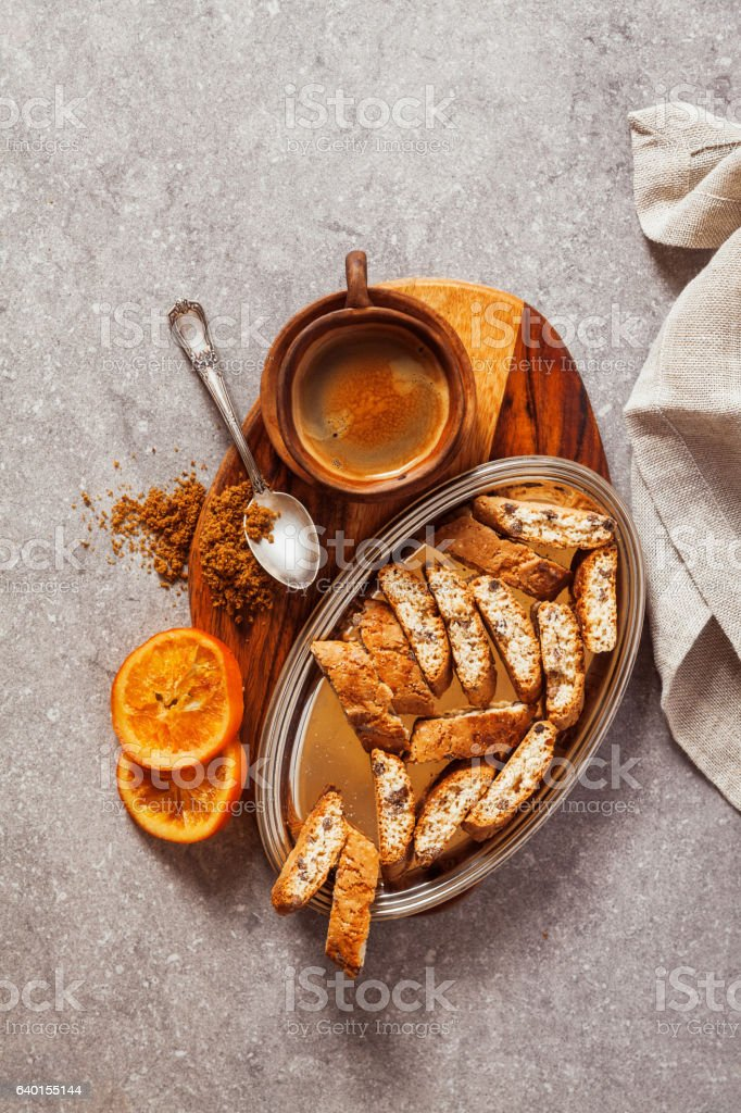 Biscotti cantuccini,  Italian almond biscuits or cookies with co stock photo