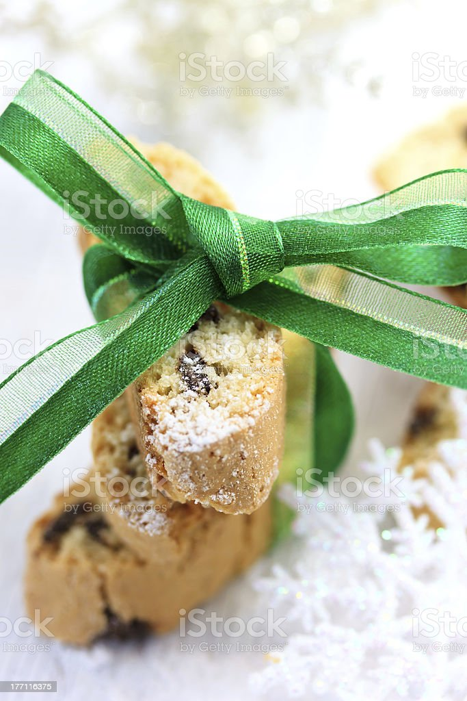 Biscotti with green ribbon royalty-free stock photo
