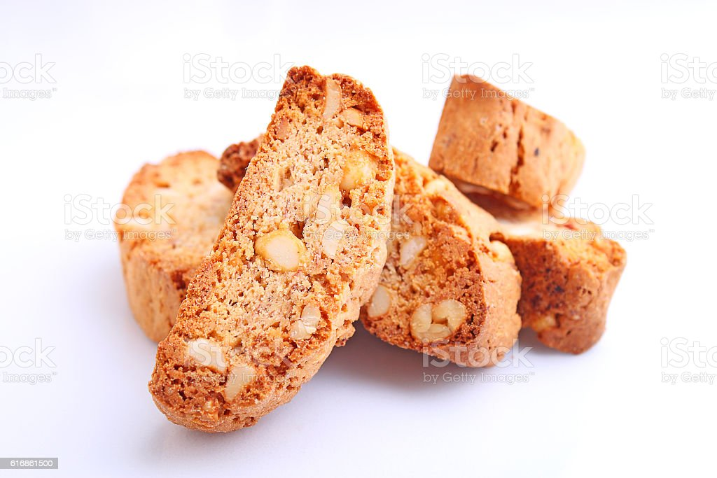 Biscotti with nuts on a white background. selective focus stock photo