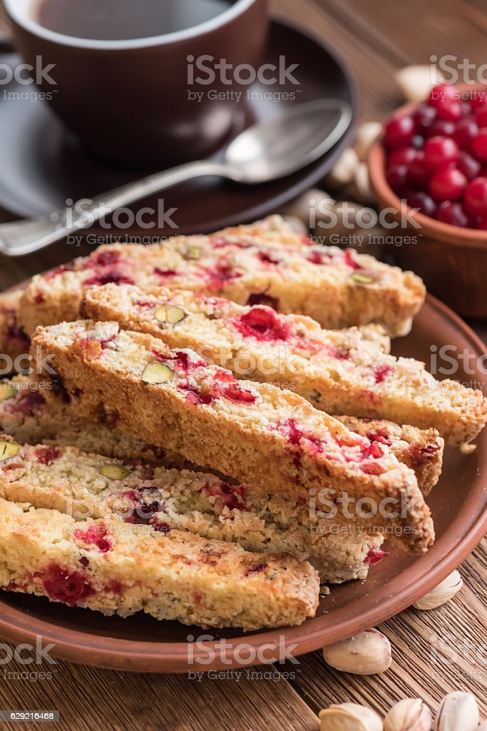 Biscotti with pistachios and cranberries. stock photo