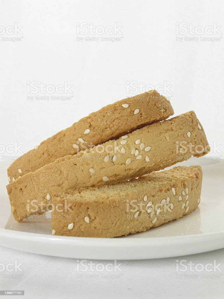 Biscotti with Sesame Seeds royalty-free stock photo