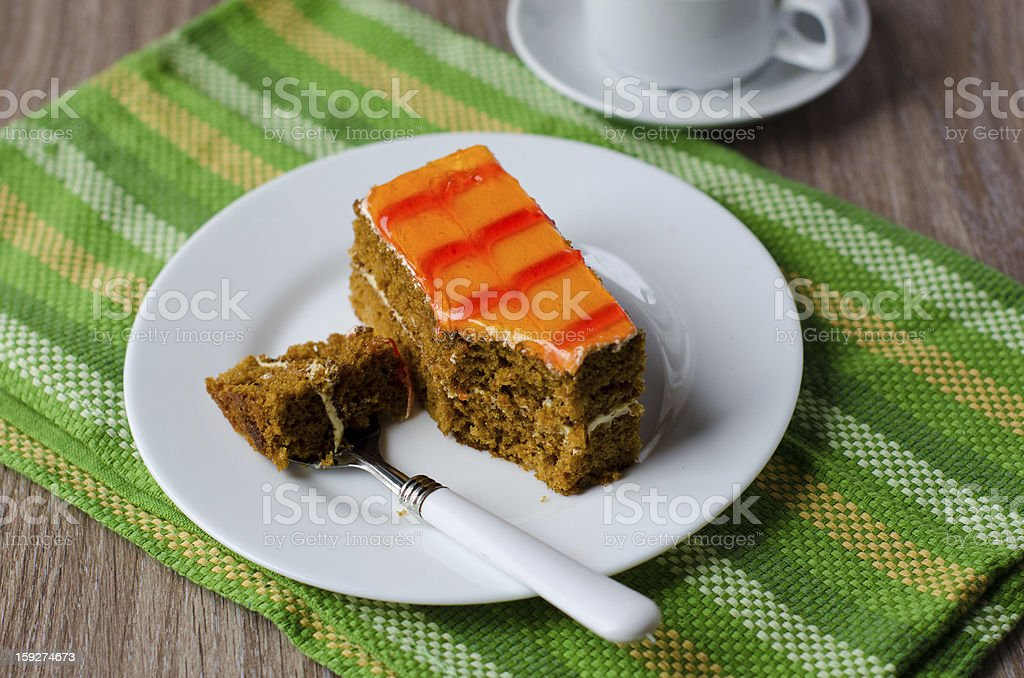 Biscuit cake with apricot jam royalty-free stock photo