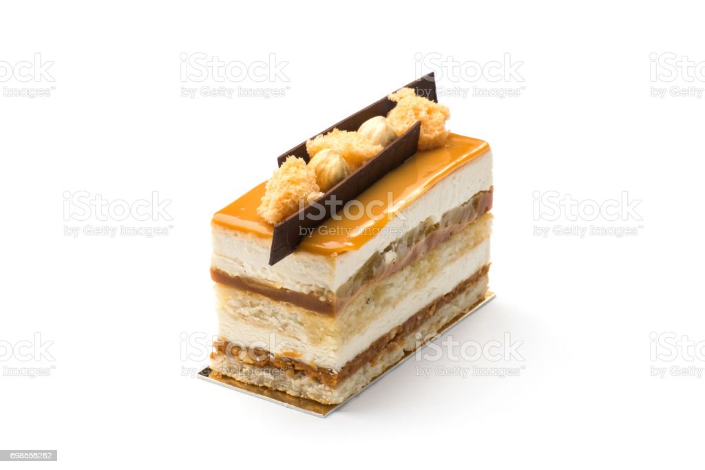 Biscuit cake with condensed milk and chocolate stock photo