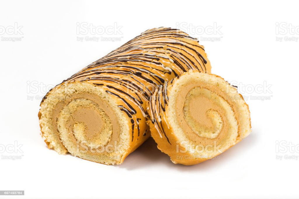 Biscuit roll with cream filling with chocolate stock photo