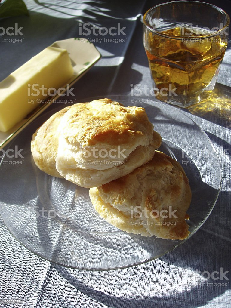 Biscuits, Butter & Apple Juice stock photo