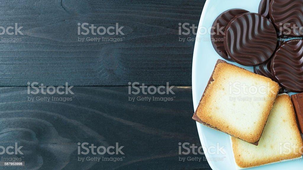 Biscuits & chocolate & milk Lizenzfreies stock-foto
