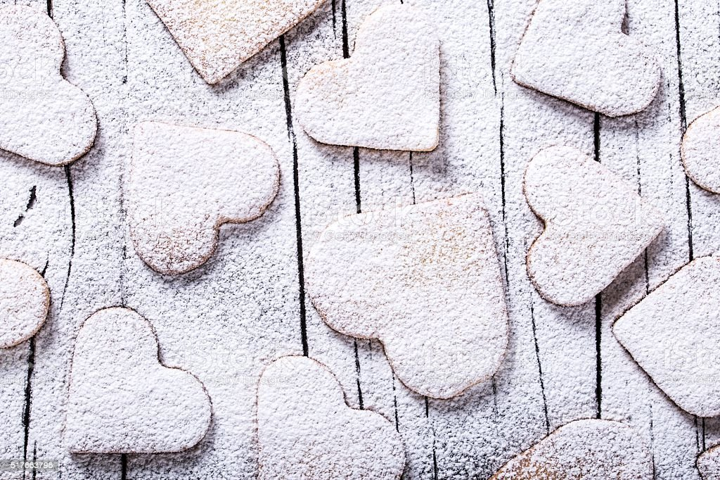 biscuits in the form of hearts, top view stock photo