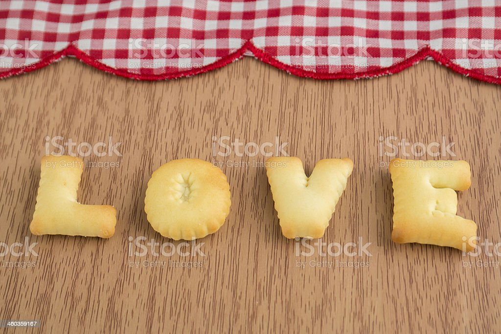 LOVE, Biscuits letters stock photo